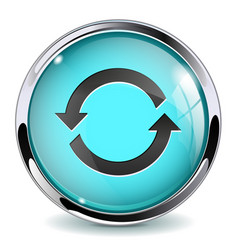 Blue glass media button refresh sign vector