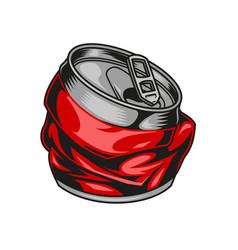 Broken aluminum red drink can concept vector