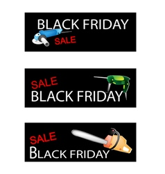 Capenter Tools on Three Black Friday Banners vector image