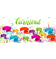 Carnival party banner with colorful flags vector