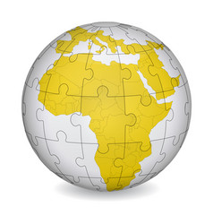 cartographic puzzle africa vector image