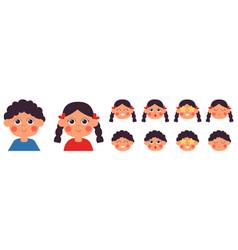 cartoon kids emotional faces kid emotion kawaii vector image