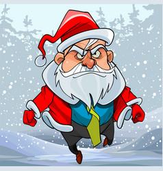 cartoon man in a santa claus costume running vector image