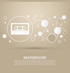 cassette icon on a brown background with elegant vector image