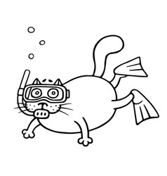 cat with mask of a diver vector image