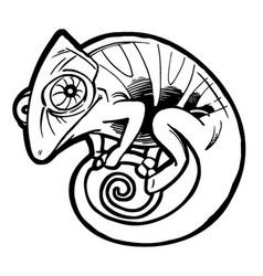 Chameleon tattoo black stylized cartoon cute vector