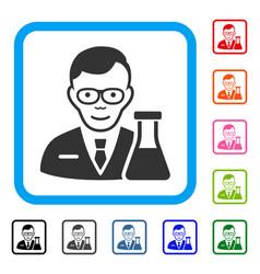 Chemist framed smiling icon vector