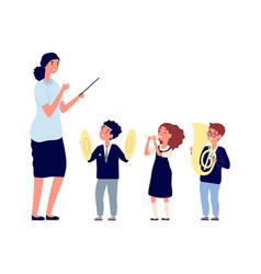 Children musicians kids orchestra music lesson vector