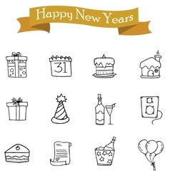 Collection of element New Year icons vector image