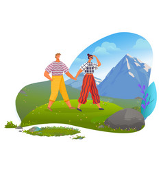 couple on vacation relaxing in mountains vector image
