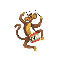 Cute funny monkey playing drum cartoon animal vector