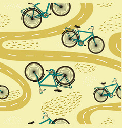 Cute seamless pattern with bicycles and paths vector