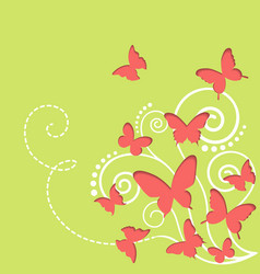 Cutout butterflies spring background vector