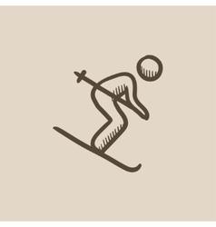 Downhill skiing sketch icon vector image
