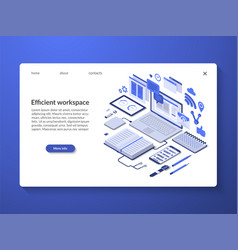 Efficient workspace workflow organization concept vector