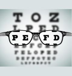 Eye glasses on eyesight test chart background vector