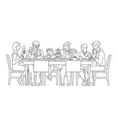 Family having dinner together vector