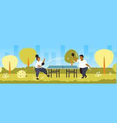 Fat obese couple playing ping pong table tennis vector