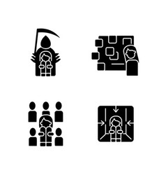Fears and phobias black glyph icons set on white vector
