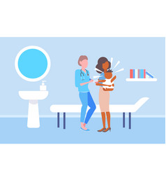 female doctor pediatrician giving injection vector image
