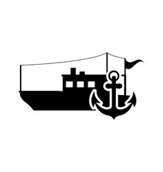 Fishing boat and anchor icon vector