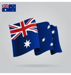 Flat and waving Australian Flag vector image
