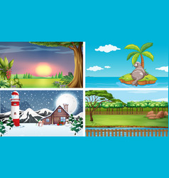 four nature scenes at different time vector image