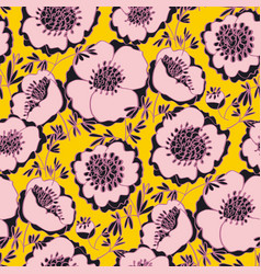 Fun sunny yellow and pink peony flowers motif vector