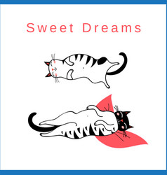 Funny card with sleeping graphic cats vector