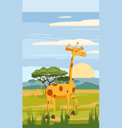 giraffe on the background of the african landscape vector image