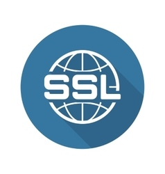 Global SSL Security Icon Flat Design vector