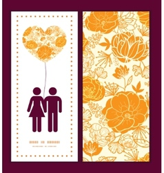 Golden art flowers couple in love silhouettes vector
