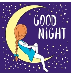 Good night greeting card vector image