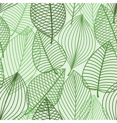 Green foliage seamless pattern of outline leaves vector