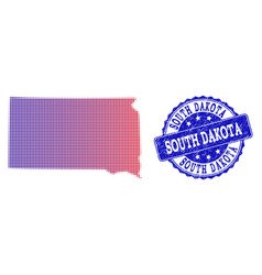 Halftone gradient map of south dakota state and vector