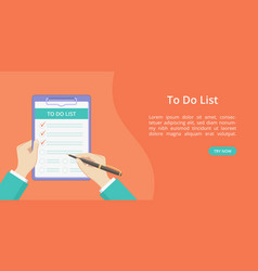 hands with clipboard todo list red landing page vector image