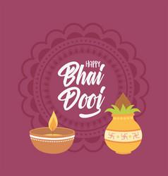 happy bhai dooj lettering card light and food vector image