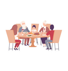 Happy family sitting at dining table together vector