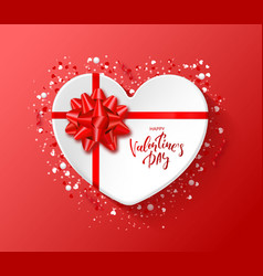 happy valentines day festive card heart box with vector image