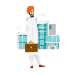 Hindu businessman holding briefcase vector