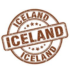 Iceland brown grunge round vintage rubber stamp vector