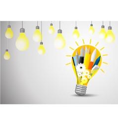 Idea concept stationery in lightblub vector