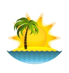 Island with palm vector