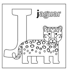 Jaguar letter J coloring page vector image