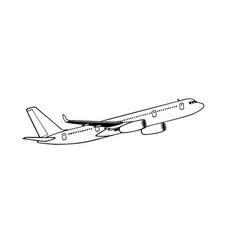 Jetliner or jet airliner drawing on white vector