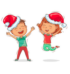 joyful children in cap santa claus vector image