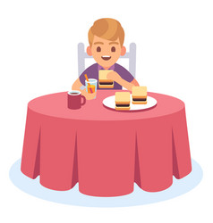 Kid eat child eating cooked breakfast dinner vector