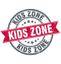 kids zone round grunge ribbon stamp vector image
