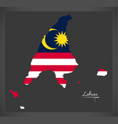 labuan malaysia map with malaysian national flag vector image