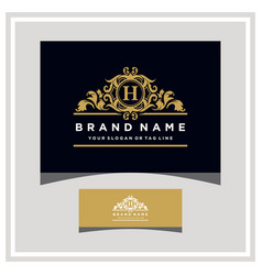 Letter h logo design concept royal luxury gold vector